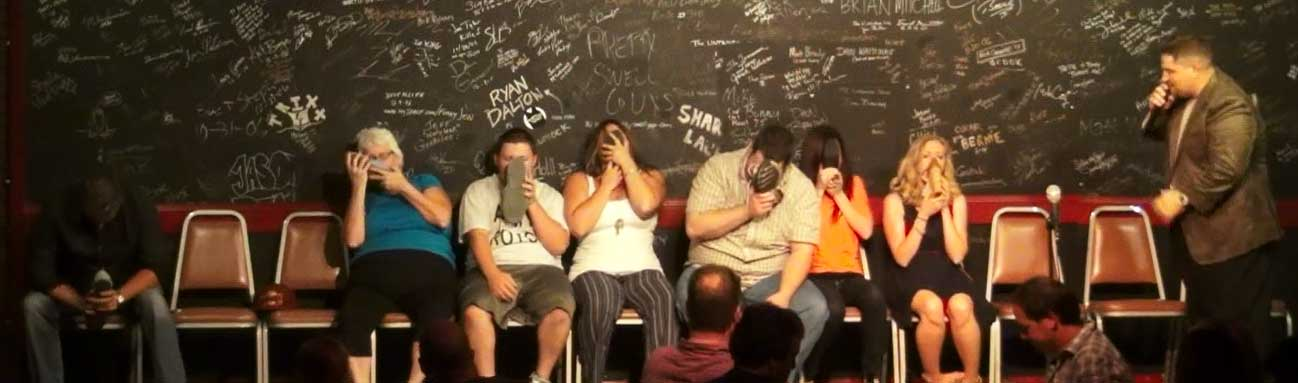 Shoes as oxygen masks in our comedy hypnosis show